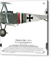 Fokker Dr.1 - 214/17 - March 1918 Acrylic Print