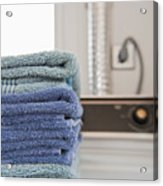 Folded Towels On A Dryer Acrylic Print by Thom Gourley/Flatbread Images, LLC