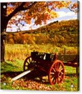 Foliage And Old Wagon Acrylic Print