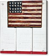 Folk Art American Flag On Wooden Wall Acrylic Print by Garry Gay
