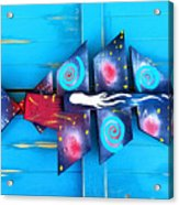 Folk Art Galactic Space Fish Acrylic Print