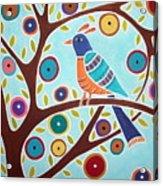 Folk Bird In Tree Acrylic Print