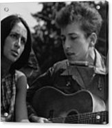 Folk Singers Joan Baez And Bob Dylan Acrylic Print by Everett