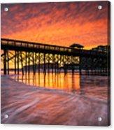 Folly Beach Pier And Waterfront Development Charleston South Carolina Acrylic Print