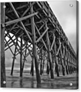 Folly Beach Pier Black And White Acrylic Print by Dustin K Ryan
