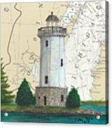 Fon Du Lac Lighthouse Wi Nautical Chart Map Map Acrylic Print