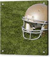 Football Helmet On Artificial Turf Acrylic Print