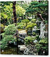 Footbridge Across A Pond, Kyoto Acrylic Print