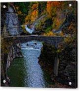 Footbridge At Lower Falls Acrylic Print by Rick Berk