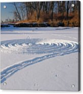 Footprint Snow Ring On A Frozen River In Winter At The Toronto I Acrylic Print