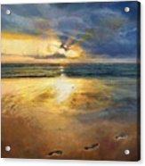 Footprints Acrylic Print by Helen Parsley