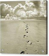 Footprints In Sand Acrylic Print