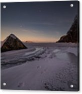 Footprints In Snow Around The Pyramid Rock Acrylic Print