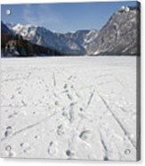 Footprints On A Frozen Lake Acrylic Print