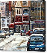 For Sale Original Paintings Montreal Petits Formats A Vendre Downtown Montreal Rue Stanley Cspandau  Acrylic Print
