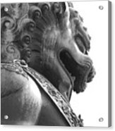 Forbidden City Lion - Black And White Acrylic Print