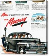 Ford Mercury Ad, 1946 Acrylic Print