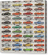 Ford Mustang Timeline History 50 Years Acrylic Print