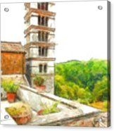 Foreshortening With Bell Tower And Wood Acrylic Print