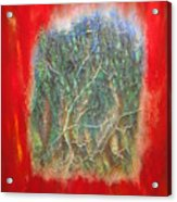 Forest - Red Background Acrylic Print