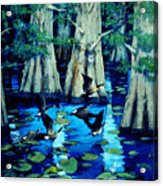 Forest In Water Acrylic Print