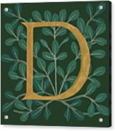 Forest Leaves Letter D Acrylic Print