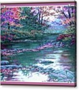 Forest River Scene. L B With Decorative Ornate Printed Frame. Acrylic Print