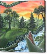 Forest Sunset Cascade Acrylic Print