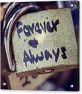 Forever And Always Paris Love Lock Acrylic Print