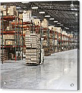 Forklift Moving Product In A Warehouse Acrylic Print