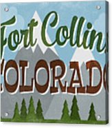 Fort Collins Colorado Snowy Mountains	 Acrylic Print