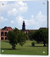 Fort Jefferson Parade Grounds And Harbor Light Acrylic Print