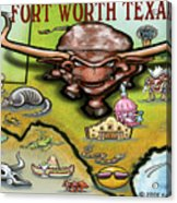 Fort Worth Texas Cartoon Map Acrylic Print