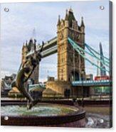 Fountain And Bridge Acrylic Print