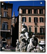 Fountain Depicting Neptune The Piazza Navona The Spire Of The Church Of Santa Maria Della Pace Rome Acrylic Print