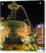 Fountain In Rossio Square Acrylic Print