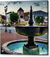 Fountain In Small Town Acrylic Print