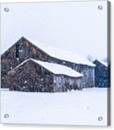 Four Barns In A Snowstorm Acrylic Print