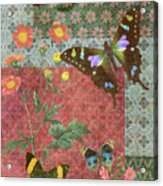 Four Butterfly Patch Green Acrylic Print