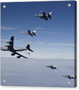 Four F-16s And A Kc-135 Fly Acrylic Print by HIGH-G Productions