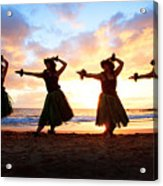 Four Hula Dancers At Sunset Acrylic Print by David Olsen
