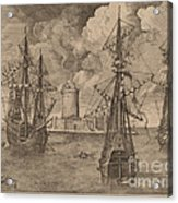 Four-master (left) And Two Three-masters Anchored Near A Fortified Island With A Lighthouse Acrylic Print