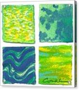 Four Squares Blue, Green, Yellow Acrylic Print