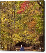 Four Year Old Boy And His Mom Walk Hand Acrylic Print by Skip Brown