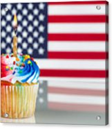Fourth Of July Cupcake With Light Candle  Acrylic Print