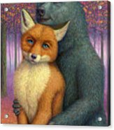 Fox And Bear Couple Acrylic Print