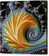 Fractal Art - Blue And Gold Acrylic Print