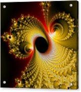 Fractal Spiral Art Yellow Red Metal Effect Acrylic Print