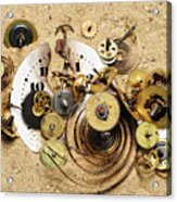 Fragmented Clockwork In The Sand Acrylic Print