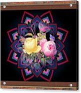 Framed Rose Bouquet Montage Acrylic Print